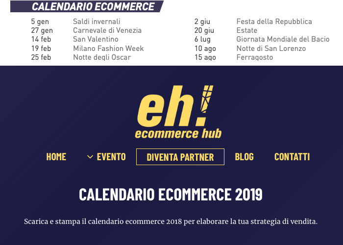 calendario e-commerce 2019
